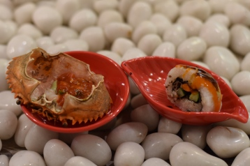 crab and sushi